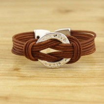 Leather ring knot bracelet, leather wrap bracelet, light brownleatehr  bracelet, ETS - B365