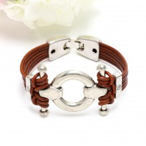 Light brown leather cord ring knot bracelet, leather bracelet,  mens bracelet, ETS - B366