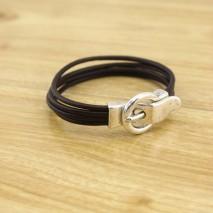 Aobei Pearl - Multi strand bracelet, leather bracelet ,black bracelet, ETS - B367