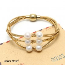 Aobei Pearl Handmade Bracelet made of Genuine Leather Cord and Freshwater Pearl, Pearl Bracelet, Wrap Bracelet, ETS-B368