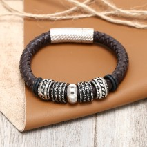 Aobei Pearl Handmade Braided Real Leather Bracelet with Stainless Steel Accessory for Men & Women, ETS-B418