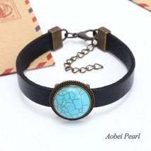 Aobei Pearl, Handmade Bracelet made of 23 mm Turquoise Beads & Genuine Leather, Leather Cuff Bracelet, Turquoise Bracelet, ETS-B432