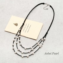 Aobei Pearl Handmade Bib Necklace with Freshwater Pearl and Suede ( Korean Velvet ), Pearl Necklace, ETS-S437