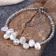Aobei Pearl, Handmade Bracelet with 8-9 mm Baroque White Freshwater Pearl, Beaded Bracelet, ETS-B438