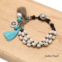 Aobei Pearl - Handmade Bracelet made of Freshwater Pearls, Genuine Leather Cord, Turquoise, Alloy Accessory and Small Cotton Thread Tassels, Wrap Bracelet, Pearl Bracelet, ETS-B444