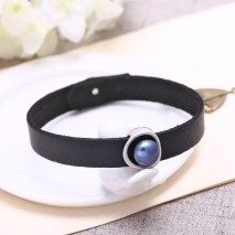 9-9.5mm button peacock blue freshwater pearl Korean villus black leather handmade fashionnecklace