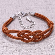 Aobei Pearl - 7'' Genuine brown leather braided rope Alloy Accessory bracelet ETS-B447