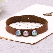 Aobei Pearl, Handmade Bracelet with 9-9.5 mm Diameter AAA Grade Button Peacock Blue Freshwater Pearl & Korean Velvet, ETS-B448