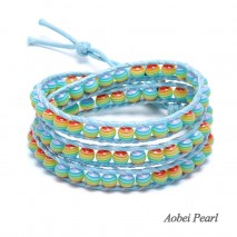 Aobei Pearl Handmade Bracelet made of Colorful Beads, Turquoise Clasp and Wax Rope, Wrap Bracelet, Fashion Sewing Bracelet for Women, ETS-B449