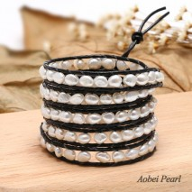 Aobei Pearl Handmade Wrap Bracelet with Leather & White Baroque Freshwater Pearl, Pearl Bracelet, ETS-B471