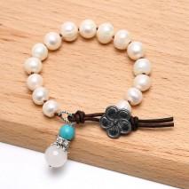 Aobei Pearl Personalized Pearl Beaded Bracelet, Boho Gemstone Charm Bracelet, Handmade Leather Jewelry for Women, June Birthstone Bracelet, ETS-B473