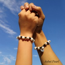 Aobei Pearl, Couple Bracelet, Pearl Leather Bracelet  for Lovers with Genuine Pearl and Leather, Pearl Bracelet, ETS-B474