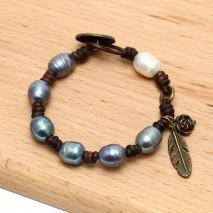 Aobei Pearl, ETS-B475 Handmade freshwater pearl beaded leather bracelet, leather pearl bracelet,cord bracelet,leather cord bracelet Inact