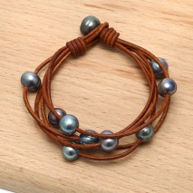 Aobei Pearl - ETS-B476  Handmade Leather Bracelets with 10-11mm Potato Black Pearls and 11-12mm Potato Black Pearls
