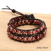 Aobei Pearl Handmade Bracelet made of Freshwater Pearl and Genuine Leather Cord, Pearl Bracelet, Two Rows Wrap Bracelet, ETS-B477