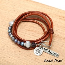 Aobei Pearl - Handmade Leather Pearl Bracelet Wrapping Three Laps with 5-6 mm Black Potato Pearls and 9-10 mm Gray Potato Pearls, Wrap Bracelet, ETS-B479