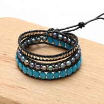 Aobei Pearl, Handmade Real Leather Wrap Bracelet made of 6-7 mm Potato Peacock Blue Pearl, Turquoise and 2.5 mm Copper Beads, ETS-B483