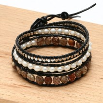 Aobei Pearl, Handmade Real Leather Wrap Bracelet made of 6-7 mm Potato White Pearl, Natural Stones and 2.5 mm Copper Beads, ETS-B484