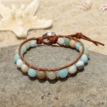 Aobei Pearl, Handmade Real Leather Wrap Bracelet with 8 mm Natural Amazonite, ETS-B489