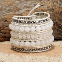 Aobei Pearl, Handmade Wrap Bracelet with 8 mm Natural Stones, 3 mm * 3 mm Hematite and Real Leather Cord, Handmade Bracelet, Hematite Bracelet, Leather Bracelet, Natural Stone Bracelet, ETS-B493