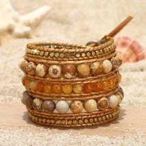 Aobei Pearl, Handmade Bracelet, Wrap Bracelet, 5 Laps Bracelet, Handmade Sewing Bracelet, Fashion Bracelet, Natural Yellow Stones Bracelet, Bracelet for Yang Girls, ETS-B501