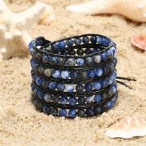 Aobei Pearl Handmade Bracelet, Wrap Bracelet, Handmade Sewing Bracelet, Natural Stones Bracelet, Leather Cord Bracelet, ETS-B504