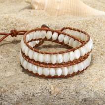 Aobei Pearl, Handmade 2 Laps Wrap Bracelet for Women, Margarita Snail Shell Beads Bracelet, ETS-B512
