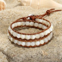 Aobei Pearl, Handmade Wrap Bracelet with Sewing Skill for Women, Margarita Snail Shell Beads Bracelet, ETS-B514