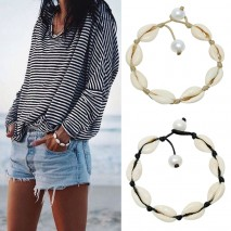 Aobei Pearl Handmade Beach Style Bracelet made of Freshwater Pearl and Shell, ETS-B516