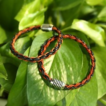 Aobei Pearl, A Pair from the Sale, Handmade Bracelet for Couples with Braided Genuine Leather and Stainless Steel Magnetic Clasp, Bracelet for Lovers, ETS-B520