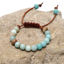Aobei Pearl, Handmade Bracelet for Women with Natural Amazonite and Genuine Leather Cord, ETS-B521