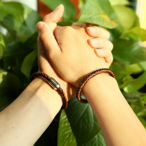 Aobei Pearl, A Pair from the Sale, Handmade Bracelet for Couples with Braided Genuine Leather and Stainless Steel Magnetic Clasp, Bracelet for Lovers, ETS-B522