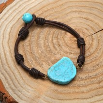 Aobei Pearl Handmade Bracelet with Genuine Leather & Turquoise Beads for Women, Turquoise Bracelet, ETS-B523