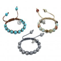 Aobei Pearl, Handmade Bracelet for Women with Alloy Charms, Natural Serpenggiante / Natural Turquoise / Natural Amazonite and Wax Rope, ETS-B524
