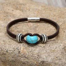 Aobei Pearl, New Design Bracelet with Genuine Leather Cord, Alloy Accessory and Turquoise Beads, Popular Bracelet, ETS-B526