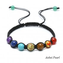 Aobei Pearl Handmade Bracelet with Natural Stone Beads and Braided Wax Rope, Colorful Beads Bracelet, ETS-B531