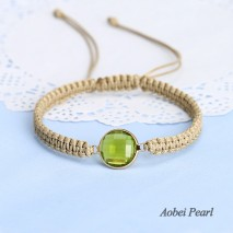 Aobei Pearl, Hand Braided Wax Rope and Gilt Crystal Beads Bracelet for Women, Handmade Crystal Bracelet, Adjustable Bracelet, ETS-B532