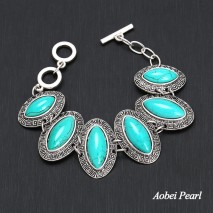 Aobei Pearl Handmade Bracelet made of Turquoise and Alloy Accessory, Turquoise Bracelet, ETS-B534