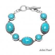 Aobei Pearl Handmade Turquoise Bracelet with Alloy Accessory, Wrap Bracelet, Daily Wear Bracelet, EtS-B535