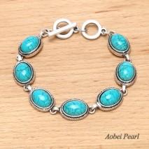 Aobei Pearl Handmade Turquoise Bracelet with Alloy Accessory, Wrap Bracelet, hot-sale Bracelet, EtS-B536