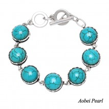 Aobei Pearl Handmade Bracelet made of Turquoise and Alloy Accessory, Turquoise Bracelet, ETS-B537