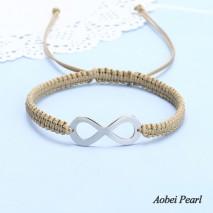Aobei Pearl, Hand Braided Wax Rope and Stainless Steel Accessory Bracelet for Women, Handmade Bracelet, Adjustable Bracelet, ETS-B538
