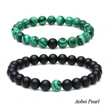 Aobei Pearl Handmade Flexible Bracelet made of Natural Agate and Malachite Beads, Beaded Bracelet, Couple Bracelet, ETS-B539