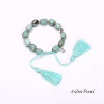 Aobei Pearl - Handmade Bracelet made of Natural Turquoise Beads, Alloy Charm and Cotton Thread Tassel, Beaded Bracelet, ETS-B549