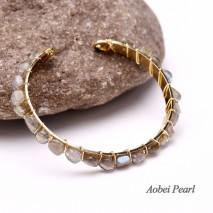 Aobei Pearl Handmade Bracelet, Fashion Crystal Bracelet with Hand-wrap Skill and High-quality Alloy Accessory, Beaded Bracelet, Adjustable Bracelet, ETS-B550