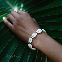 Aobei Pearl Handmade Bracelet made of Seashell, White Turquoise and Wax Rope, Adjustable Bracelet, Shell Bracelet, Braided Bracelet, ETS-B553