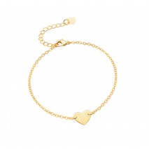 Aobei Pearl Handmade Love Heart Bracelet on 18 K Gold Plated Chain and Lobster Clasp, Chain Bracelet, Adjustable Bracelet, ETS-B566