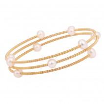 Aobei Pearl Boho Freswahter Pearl Beaded Cuff Bracelet Handmade June Birthstone Bracelet, Gold Wrap Bracelet, Memory Elastic Winding Bracelet, ETS-B571