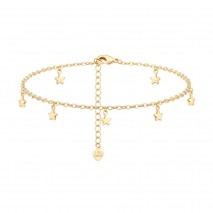 Aobei Pearl ,18K gold-plated star pendant anklet, Boho Layered Beach Foot Jewelry,adjustable anklet,exquisitely handmade anklets,  jewelry beach long 21cm+5cm ETS-B576