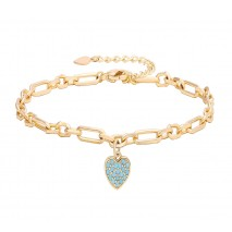 Aobei Pearl 7 Inch Gold Blue Love Heart Chain Bracelet 18K Gold Plated shiny Handmade anklet adjustable Chain Link, Charm Jewelry for Women ETS-B584